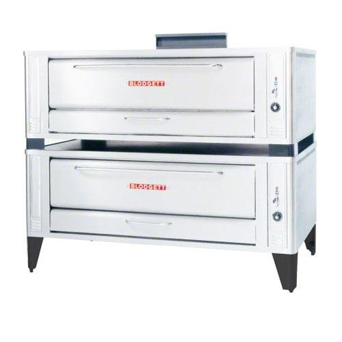 Large Gas Pizza Deck Oven - Two Base Sections With 12 Inch Black Legs, Stainless Steel Crown Angle Leg Frame, Stainless Steel Draft Diverter Or Draft Hood, Flue Connector Andcrown Angle Trim -- 1 (Blodgett Pizza Ovens)