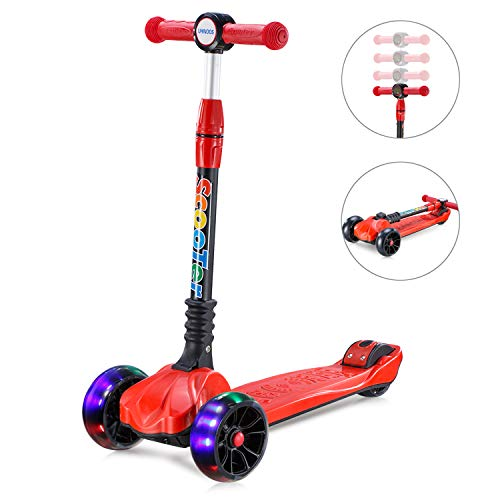 UHINOOS Kick Scooter for Kids&Toddlers-4 Adjustable Height 3 Wheel Scooters for Kids-Flashing Wheels Foldable Kids Scooter Best Gifts for Children from 3-12 Years (red)
