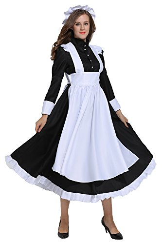 KOGOGO Victorian Maid Costume Colonial Women Dress with Apron,Medium Black