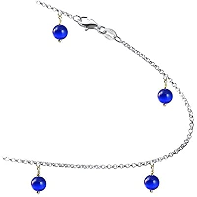 nice Blue-color Cat's-eye Beads with .925 Sterling Silver Link Anklet, Bracelet. 7,8,9,10,11,12,13