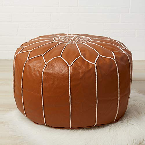 Handmade Faux Leather Ottoman Footstool - Living Room/Dining Room/Man Cave Decor - Moroccan Pouf Footstool - Unstuffed Leather Ottoman - Textured Finish/White Embroidery - White/Gold Piping (Style Ottoman Moroccan)