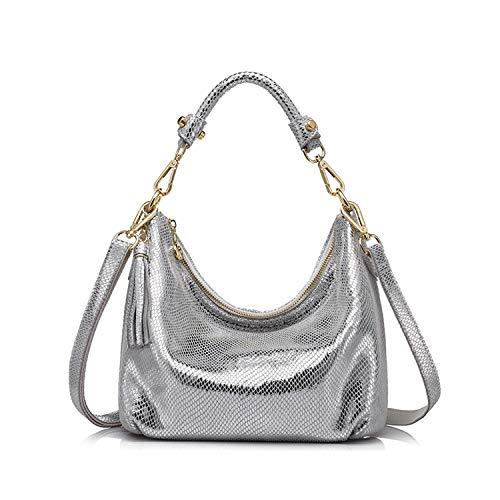 (Women genuine leather shoulder bag serpentine pattern small handbag casual tote bag lady crossbody bag Gold/Silver,Silver)