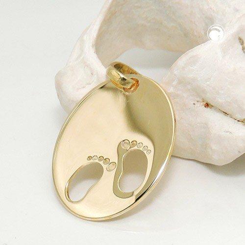 Pendentif Gravure plaque pieds naissance empreintes de pied de cercle en or jaune 585