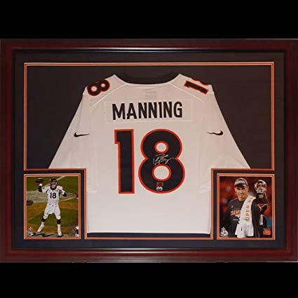 45014a723 Image Unavailable. Image not available for. Color: Peyton Manning  Autographed Signed Auto Denver Broncos Nike White #18 Deluxe Framed Jersey  Peyton Holo