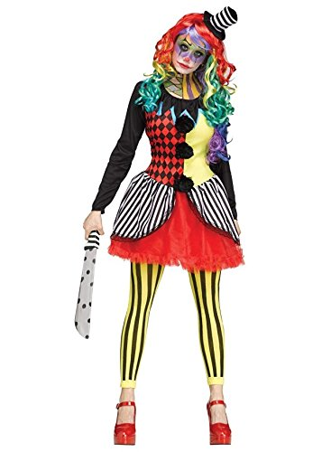 Clown Makeup Costume Killer (Freak Show Scary Killer Clown Woman Costume, Small/Medium)