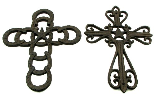 Cross Figure Iron Home Wall Mounted Religious Decorative Ornament Horseshoe Star Accent Indoor Outdoor Hanging Catholic Symbol Christmas Decor Memorial Bereavement Altar Sculpture Antique Statue (Set