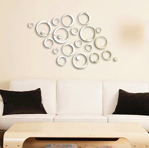 24 Shining Circles Mirror Fashion Modern Design Silver Mural Art Home Office Wall Sticker Decor