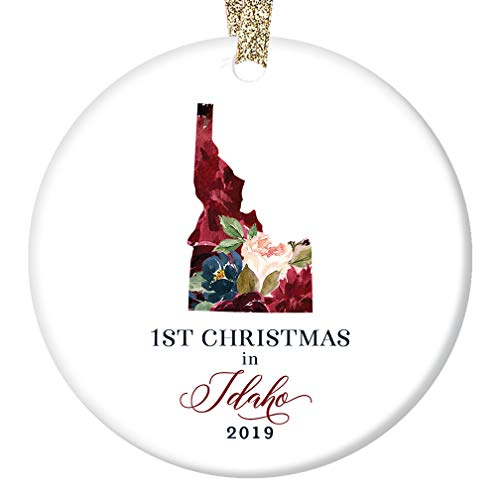 - 2019 Holiday Season Ceramic Collectible Tree Ornament First 1st Christmas in IDAHO U.S.A. Present for Friends Family Coworker Lovely Floral 3