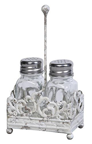 Metal Salt & Pepper Shaker Caddy W/ Glass Shakers Distressed Antique White Finish Country Home Restaurant Kitchen D