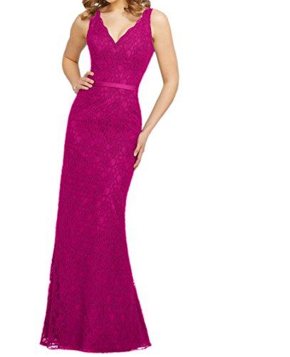 Abendkleider Abschlussballkleider Damen Etuikleider Trumpet Lang Spitze Pink Charmant Brautjungfernkleider RvUw6