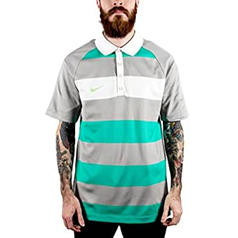 Nike Men's Golf Sport Rugby Striped Polo L Atomic Teal