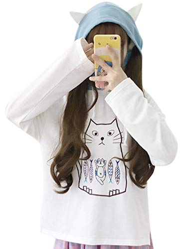 CRB Fashion Cosplay Anime Bunny Emo Girls Cat Bear Ears Emo Bear Top Shirt Pullover Sweater Hoodie (White Cat #3) -