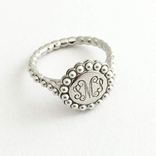 Monogram Sterling Silver Ring with Faux Pearl Accents