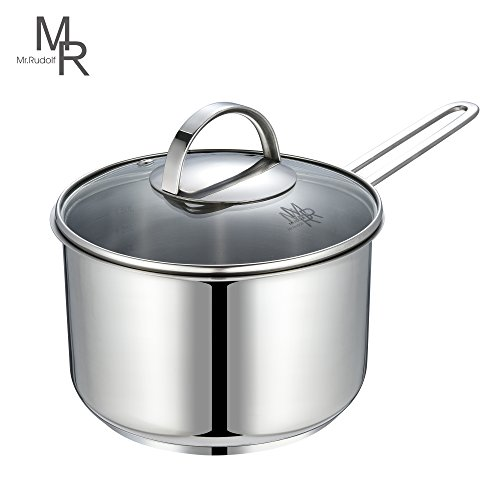 Mr. Rudolf Chef's Classic Saucepan 18/10 Stainless Steel 1 Handle Saucepan with Glass Lid 1.5 Quart Dishwasher Safe PFOA Free Saucepan 16cm 1.5 Liter (Glass Steel Casserole)