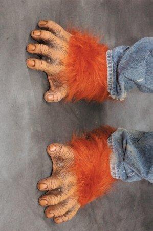 Adult Chimp Feet (Zagone Orangutan Feet, Orange Faux Fur, Tan Latex Toes/Feet)