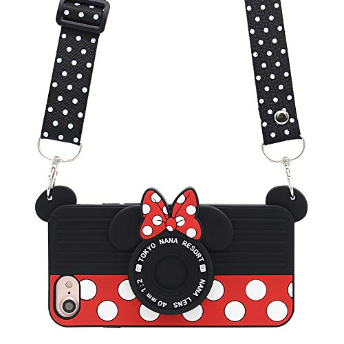 MC Fashion iPhone 7 Case, iPhone 8 Case, Cute 3D Minnie Mouse Polka Dots Camera Case for Teens Girls Women, Shockproof and Protective Soft Silicone Phone Case for Apple iPhone 7/8