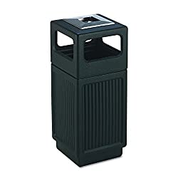 Safco Products 9474bl Canmeleon Recessed Panel Trash Can, Ash Urn, Side Open, 15-gallon, Black