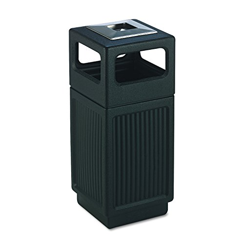 Safco Products Canmeleon Outdoor/Indoor Recessed Panel Trash Can with Ash Urn 9474BL, Black, Decorative Fluted Panels, Stainless Steel Ashtray, 15 Gallon Capacity from Safco Products