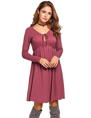 Dress Long Wine Beyove Women's Swing Casual Red Tunic Neck Sleeve Pleated Loose Tie wqUP1qR5v