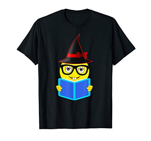 Emoji Book Nerd Witch Hat T-Shirt for Girls on Halloween -