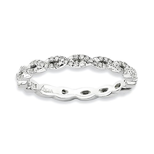 Diamond (I3, J-K 0.33 cttw) Size 6 2.25mm Twisted Eternity Band Silver Stackable Expressions Ring by Stackable Expressions