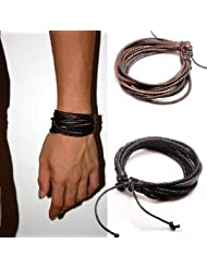 Jirong 2-Pack Leather Black & Brown Bracelets - Adjustable Wristband - Great For Men, Women, Teens, Boys, Girls SL1