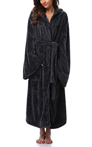 Women's Long Hooded Plush Bathrobe Soft Fleece Robe Velvet Bathrobe Sleepwear Warm Nightgown