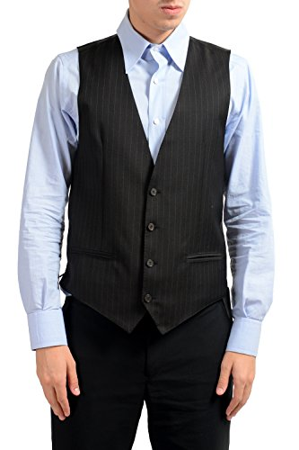 Dolce & Gabbana Men's 100% Wool Striped Button Up Dress Vest US 38 IT 48 ()