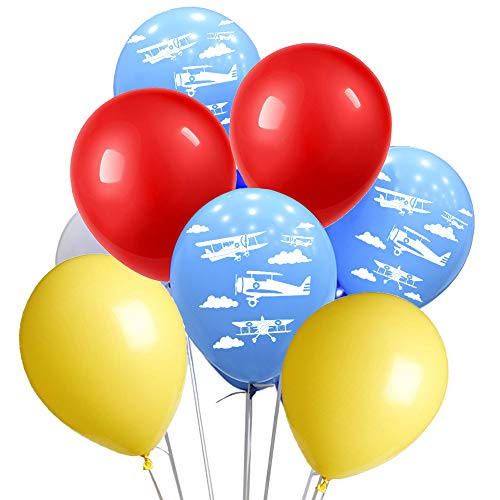 (Airplane Party Balloons Pack of 80 - Red Yellow Blue Latex Balloons With Biplane Vintage Airplane Party Balloons For Air Force Theme Party Boy Girl Birthday Party Decorative)