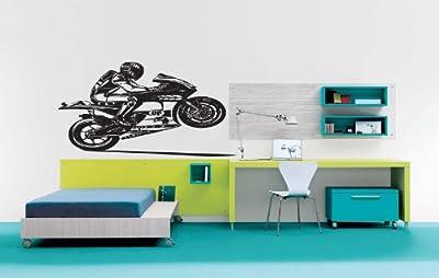Room Wall Vinyl Sticker Decal Mural Design Cool Sport Bike Biker Making Wheely Motorcycle 954
