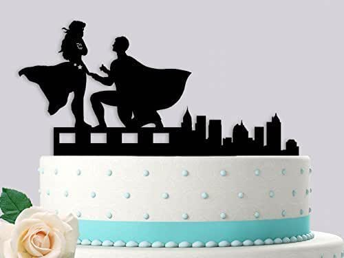 superman and wonder woman wedding cake toppers superman proposing to wonderwoman wedding cake 20615