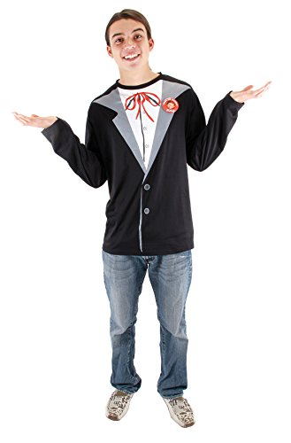 Men's Alfred E. Neuman T-Shirt Magazine Character Outfit Halloween Costume, L/XL (44-48) -