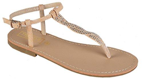 Womens Girls Summer Beach Thong Sandals Flip Flops with Twisted Diamante Detail, Nude, UK 3-8 Beige