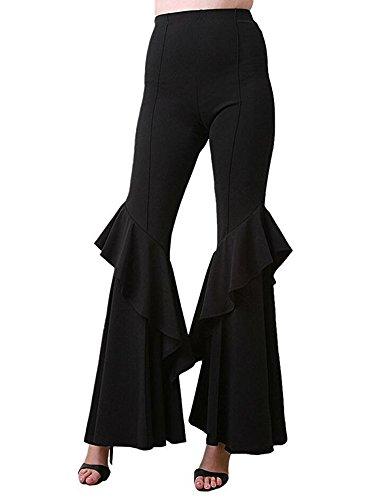 - MS Mouse Girl's Black Ruffled Flared Leggings Bell Bottom Dance Pants XL