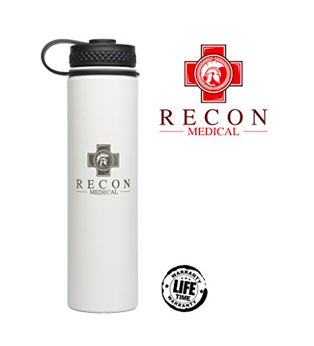 Surgical Grade Stainless Steel Water Bottle by Recon Medical - (White) Vacuum Sealed double wall, Wide Mouth, Durable Powder Coating, Safe for Hot or Cold Liquids! by Recon Medical