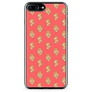 iPhone 7 Plus Transparent Edge Phone Case Strawberry Phone Case Strawberry Phone Case Pink Pattern iPhone 7 Plus Cover with Transparent Frame
