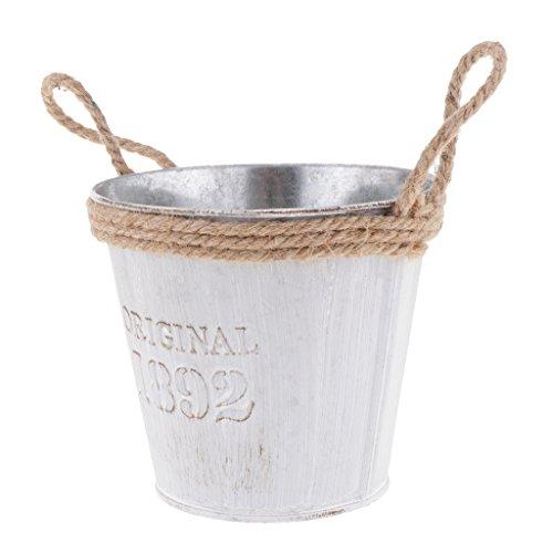 B Blesiya Galvanised Metal Tin Watering Can Container Planter Pot Herb Garden Flower Bucket Barrel Basket Garden Decor - M