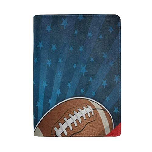 (Passport Holder American Football Flag Passport Cover Case Wallet Card Storage Organizer for Men Women Kids)