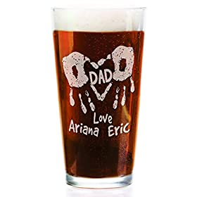 Hand Print Daddy Mom Personalized with Kids Names 16oz Pub Glass Laser Engraved Gift for Dad Mommy Grandparents Parents Papa from Son Daughter Baby Beer Mug for Christmas Birthday Fathers Day