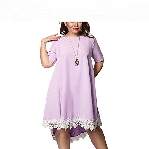 Baqijian Plus Size Dress Women Summer Dresses Short Sleeve Female Lace Dress Stylish Costume 4Xl/5Xl/6Xl Lavender L
