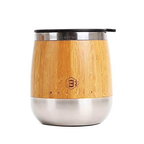 - Baonus Original Bamboo Stemless Stainless Steel Double wall Insulated Tumbler Cup for Wine Beer Coffee Cola Fruit Juice Champagne Soda 14oz