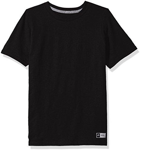 Russell Athletic Boys' Big Performance Cotton Short Sleeve T-Shirt, Black, M