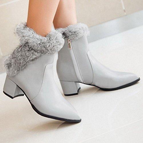 Women's Taoffen Short Zipper With Boots Gray gTdgxw0rq