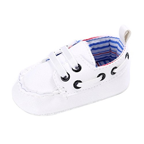 Tefamote Zapatos Botines Cuero de Suela Blanda Cuna Para Bebé Recién Nacido Niño niña Blanco