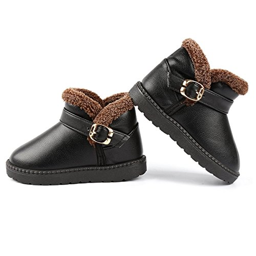 KVbaby Boys Girls Winter Warm Fur Lined Ankle Snow Boots Flat Booties Shoes (Toddler/Little Kid/Big Kid) Black qgbOwI