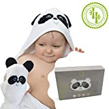 Panda Bathrobe Towel with Hood and Glove for Small Babies Newborn 100% Extra Soft Organic Bamboo Large Size Perfect for Bath Shower to All Babies Up to 3 Years