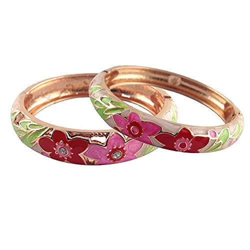 UJOY Fashion Cloisonne Bracelets Gold Plated Beautiful Enameled Flower Women's Gifts Bangles Spring Hinged 88A11 Cream Pink