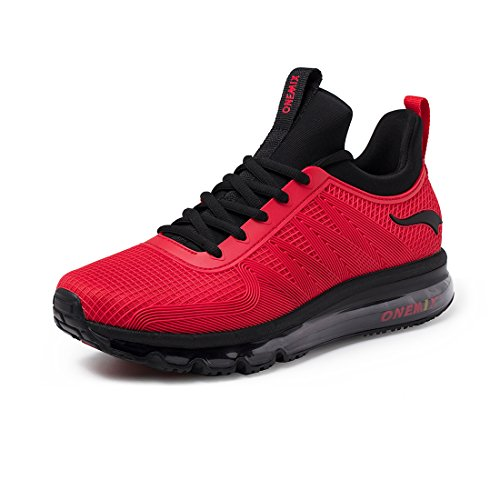 Onemix Mens Scarpe Da Corsa Cuscino Daria Traspirante Per Scarpe Da Passeggio Con Sneakers Sportive Outdoor Rosse
