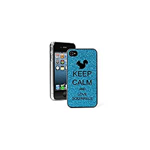 Apple iPhone 4 4S Glitter Bling Hard Case Cover Keep Calm and Love Squirrels (Light Blue)