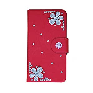 Generic PU Meterial Leather Holder Rhinestone Thin Hard Case Cover Flower Compatible For SONY Xperia arc S X12 LT18i LT15I Color Red Design Diamond Flower